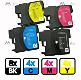 20 Compatible Ink Cartridges to Brother LC1100 LC 1100 LC980 LC 980 (8x black & ea. 4x cyan magenta yellow) LC1100BK LC1100Y LC1100C LC1100M LC980BK LC980Y LC980C LC980M for the Brother MFC-250C MFC-255CW MFC-290C MFC-295CN MFC-297C MFC-490CN MFC-5490CN