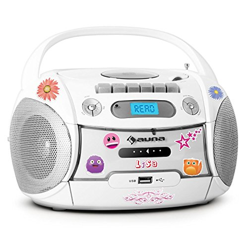 Auna Boomberry Radio Registratore Portatile Sticker CD USB Bianco
