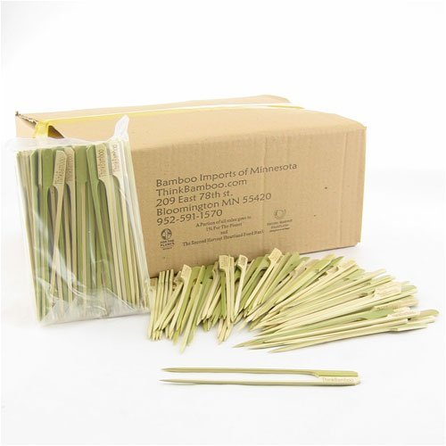 "2,000 Piece Box Of 5.9"" Paddle Style Bamboo Skewers, 20Bags X 100Pc/Bag"