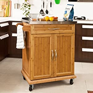 Sobuy bamboo kitchen cabinet kitchen cart island storage trolley with stainless steel surface - Kitchen cabinets trolleys pictures ...