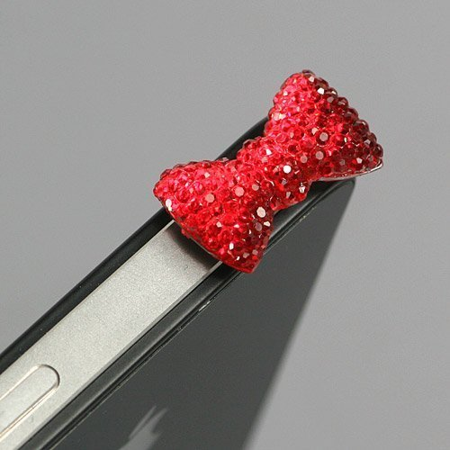Bonamart ® Red / Earphone Jack Accessory / Bow Dust Plug / Ear Cap / Ear Jack For Iphone / Ipad / Ipod Touch / 3.5Mm (7232-4)