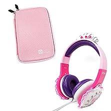 "buy Premium Quality Children'S 'Princess' Tiara Headphones In Pink & Purple With Pretty Lace Detailing For Polaroid Infinite 7"" + Bonus Matching Pink Eva Hard Case!"