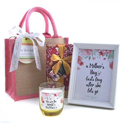 Mothers Day Hamper - A Mother's Hug Gift Set Pink Jute Bag Gift for Her Available for Next Day Delivery for Mother's Day - with Candle and Chalkboard and Chocolates for Her