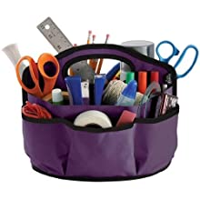 Find It Supply Caddy, 8.75 x 12 Inches, Canvas, 6 Pockets, 6 Compartments, 10 Storage Loops, Purple (FT07203)