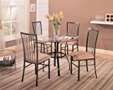 5pc Dining Table and Chairs Set Glass Top Sleek Metal Finish