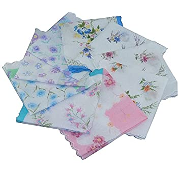 Uniquezone Vintage Floral Handkerchief Wendding Party Fabric Hanky