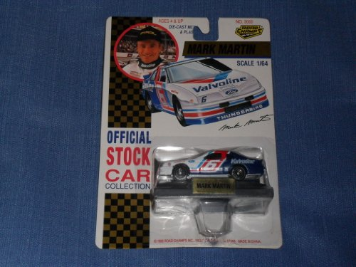 1992 NASCAR Road Champs . . . Mark Martin #6 Valvoline Ford Thunderbird 1/64 Diecast . . . Includes Display Stand - 1