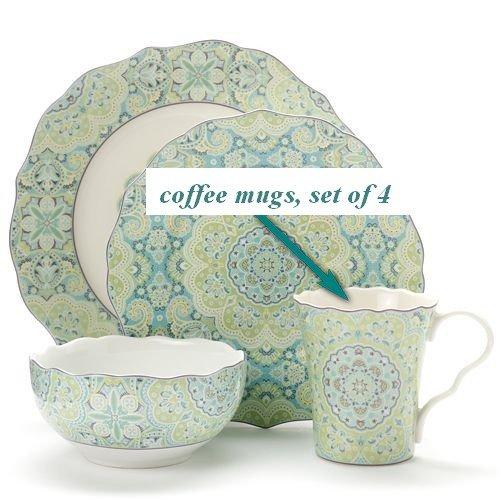 222 Fifth Lyria Teal Paisley Coffee Mugs, Set of 4