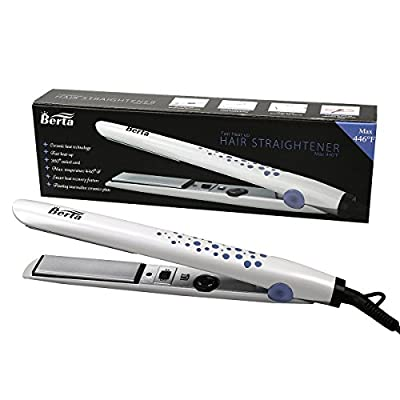 Berta 1in. Professional Hair Straightener Tourmaline Ceramic Hair Flat Iron Pearl White