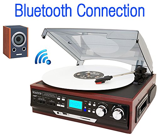 Boytone BT-37M-C Bluetooth 3-Speed Stereo Turntable, Wireless Connect to Devices speaker, 2 Built-In Speakers, LCD Display, AM/FM Radio, USB/SD/AUX+ Cassette/MP3 & WMA Playback/Recorder (Turntable Usb Bluetooth compare prices)