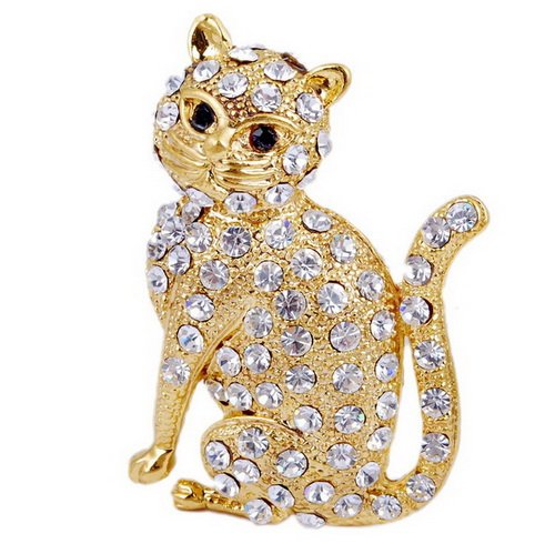 Popular Lady Pin Rhinestone Alloy Brooch Women Party+A Free Bag CAT