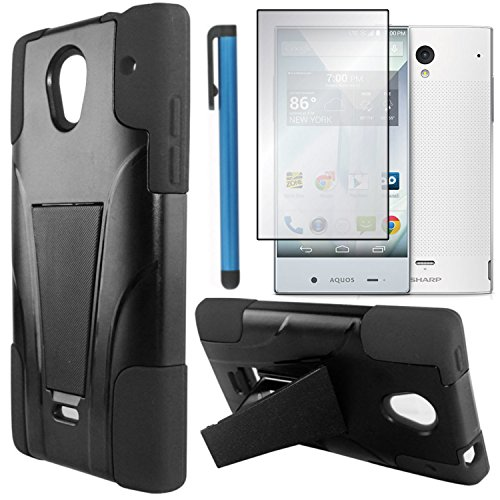 Sharp Aquos Crystal Case Combo(3-items)-VGUARD Dual- Layer Hard/Gel Hybrid Kickstand Armor Case (Black/Black)+ICE-CLEAR(TM) Screen Protector Shield(Ultra Clear)+Touch Screen Stylus (Sharp Aquos Case Armor compare prices)