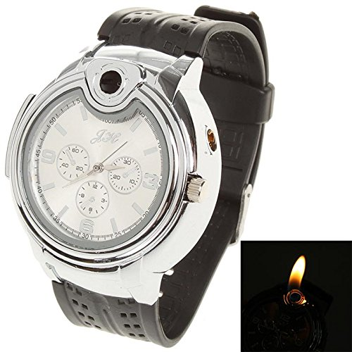 2 in 1 Quartz Wrist Watch with Butane Flame Lighter