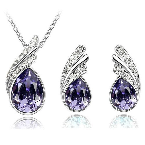 Stylish Jewellery Set Deep Purple Crystal Wings Studs Earrings & Necklace S225