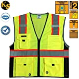 KwikSafety Class 2 Deluxe High Visibility Safety Vest with Reflective Strips and Pockets - Meets ANSI/ISEA Standards, Yellow Reflective Safety vest, Size Large/XL