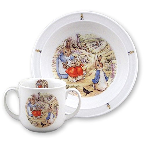 Beatrix Potter Peter Rabbit Family 2 pc Toddler Porcelain Set in Window Box (Baby Porcelain Dish Set compare prices)
