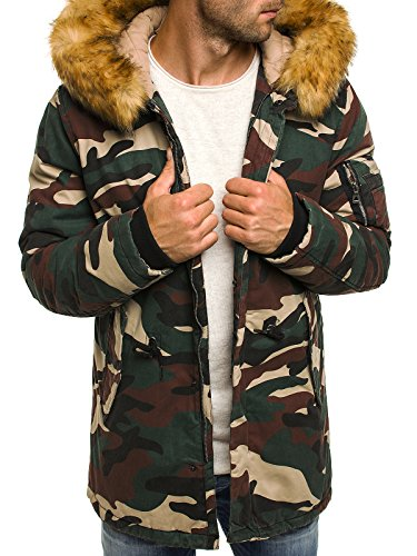 OZONEE Herren Winterjacke Wärmejacke Parka Camouflage Militärstil Armee Steppjacke Jacke Sportjacke Kapuzenjacke OZONEE 3162 CAMO S