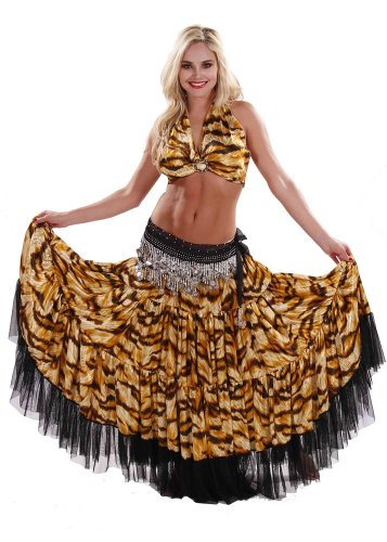 Belly Dance Tiger Pattern 17 Yard Skirt, Top & Hip Scarf Costume Set | Winding Wild