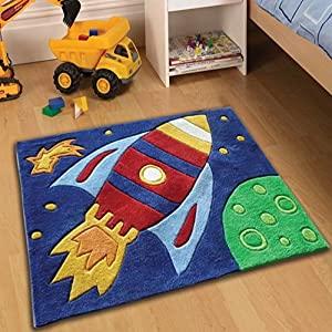 Childrens play rocket rugs 70 x 100cm perfect for any for Rugs for boys bedrooms