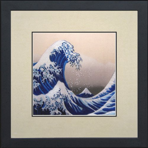 King Silk Art 100% Handmade Embroidery Mixed Group The Great Wave off Kanagawa - Hokusai Japanese Feng Shui Large Framed Landscape Painting Gift Oriental Asian Wall Art Décor Artwork Tapestry Hanging Picture Gallery 37130WFG