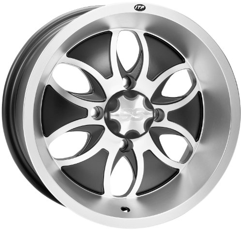 ITP System 6 Wheel - 14x7 - 5+2 Offset - 4/115 - Machined/Black, Wheel Rim Size: 14x7, Rim Offset: 5+2, Color: Black, Bolt Pattern: 4/115 1428457404B