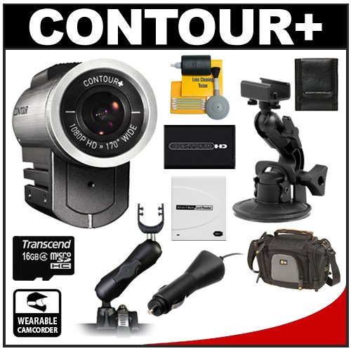 Contour+ Helmet 1080p HD GPS Wearable Camcorder Video Camera with 16GB Card + Windshield & Rollbar Mount + Battery & Car Charger + Case + Accessory Kit for Proferssional & Enthusiast Motorsports, Auto Racing & Motorcycles