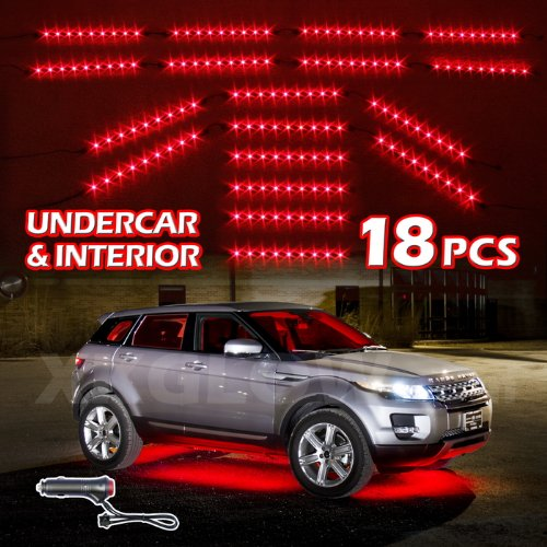 Red Premium 18Pcs Underglow + Car Interior Three Mode Led Neon Accent Light Kit Waterproof Ultra Bright + Plug & Play Ultimate Coverage