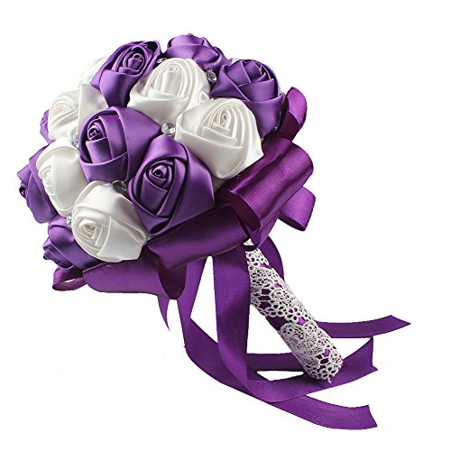 OurWarm Handmade Satin Roses White Beige Crystal Brooch Bridal Wedding Bouquet Decor Purple