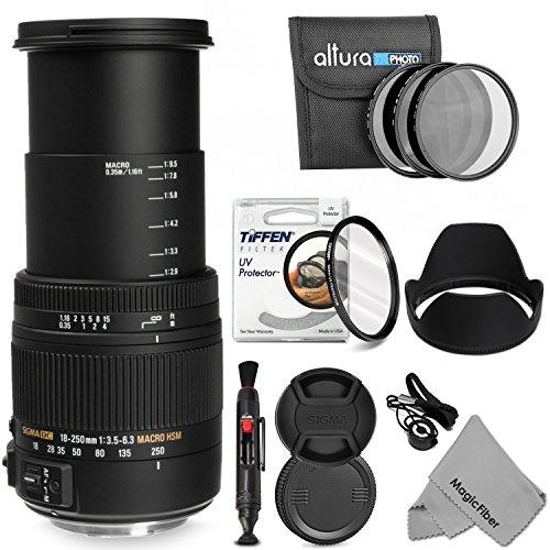 Sigma 18-250Mm F/3.5-6.3 Dc Macro Os Hsm Telephoto Zoom Lens + 62Mm Essential Accessory Kit For Nikon Dslr D7100 D7000 D5300 D5200 D5100 D5000 D3300 D3200 D3100 D3000 Cameras