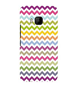 Colorful Zig Zag Pattern 3D Hard Polycarbonate Designer Back Case Cover for HTC One M9 :: HTC M9 :: HTC One Hima