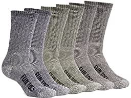 FUN TOES Men\'s Merino Wool Socks -6 Pack Value- Lightweight,Reinforced-Size 8-12 (2 Blue, 2 Green, 2 Brown)