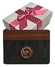 Michael Kors Fulton Signature MK Brown PVC/Luggage Credit Card Case Holder with Gift Box