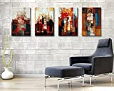 Creativity. Modern Abstract Art Oil Painting on Canvas Frameless 4pc Different Color 01#