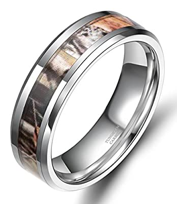 6mm Tungsten Autumn Leaves Camouflage Inlay Hunting Ring Wedding Engagement Band Comfort Fit Size 5-10