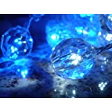 Crystal Clear Blue and White Bead LED String Lights; LED Christmas Lights; Party Lights ~ ORANGE TREE TRADE