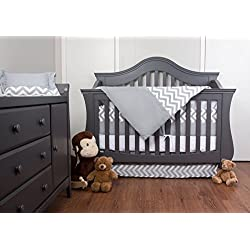 Simon's Baby House 100% Cotton 7 piece Crib bedding set Chevron Zig Zag (Gray and White)