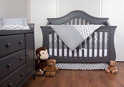 Simon's Baby House 100% Cotton 7 piece Crib bedding set Chevron Zig Zag (Gray and White)