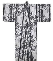Japanese Women\'s Yukata Kimono Robe Bamboo White 58in Size L