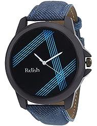 Relish Analog Blue Dial Denim Style Strap Men's Watch Relish-525
