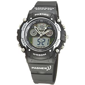 Cool Digital-analog Waterproof Dual Time Sport Wrist Watches for Boys Girls (Black)