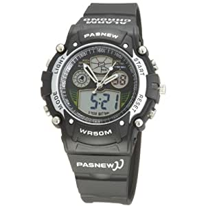 Pasnew Cool Digital-analog Waterproof Dual Time Sport Wrist Watches for Boys Girls (Black) Pse-149a