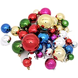 WDA Merry Christmas Balls Ornaments 36 Pcs/Barrel With Different Sizes Xmas Christmas Tree Toppers Club Party Holiday Christmas Decoration (MIXED COLOR)