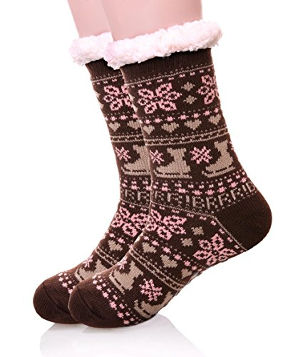 EBMORE Women's Home Super Soft Warm Winter Snowflake Fleece Lined Crew Socks (Brown) (Thermal Fleece Lined Socks compare prices)