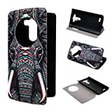 LG G3 Case ivencase View Window Painting Art Tribal Elephants Style Design PU Leather Flip Stand Case Cover For LG G3