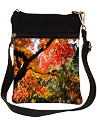 Snoogg Red Leaves Tree Cross Body Tote Bag / Shoulder Sling Carry Bag