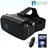 ONLY THIS WEEK 50% OFF - Nuvika Z1 plus 3D and VR Virtual Reality Headset For iPhone, Samsung and other phones. Free Tech Support, Bluetooth Gamepad and VR Ebook!