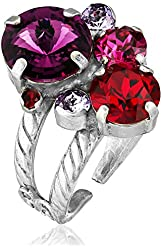 """Sorrelli """"Pink Ruby"""" Crystal Assorted Rounds Ring, Size 7-9"""