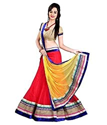 Pramukh Collection Women's Georgette Relaxed Lehenga Choli (PC04_Red And Yellow_Free Size)