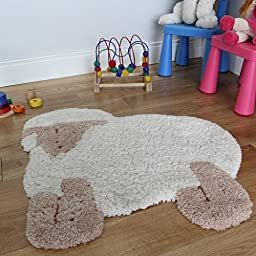 Cute Lamb Non Shed Soft Touch Fluffy Beige Nursery Rug 75 x 80cm