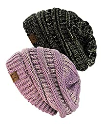 NYfashion101 Exclusive Unisex Two Tone Warm Cable Knit Thick Slouch Beanie Cap, 2 Pack - Black/Dark Beige & Lilac/Dark Beige